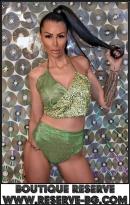 Бикини с Висока Талия Green Glitter